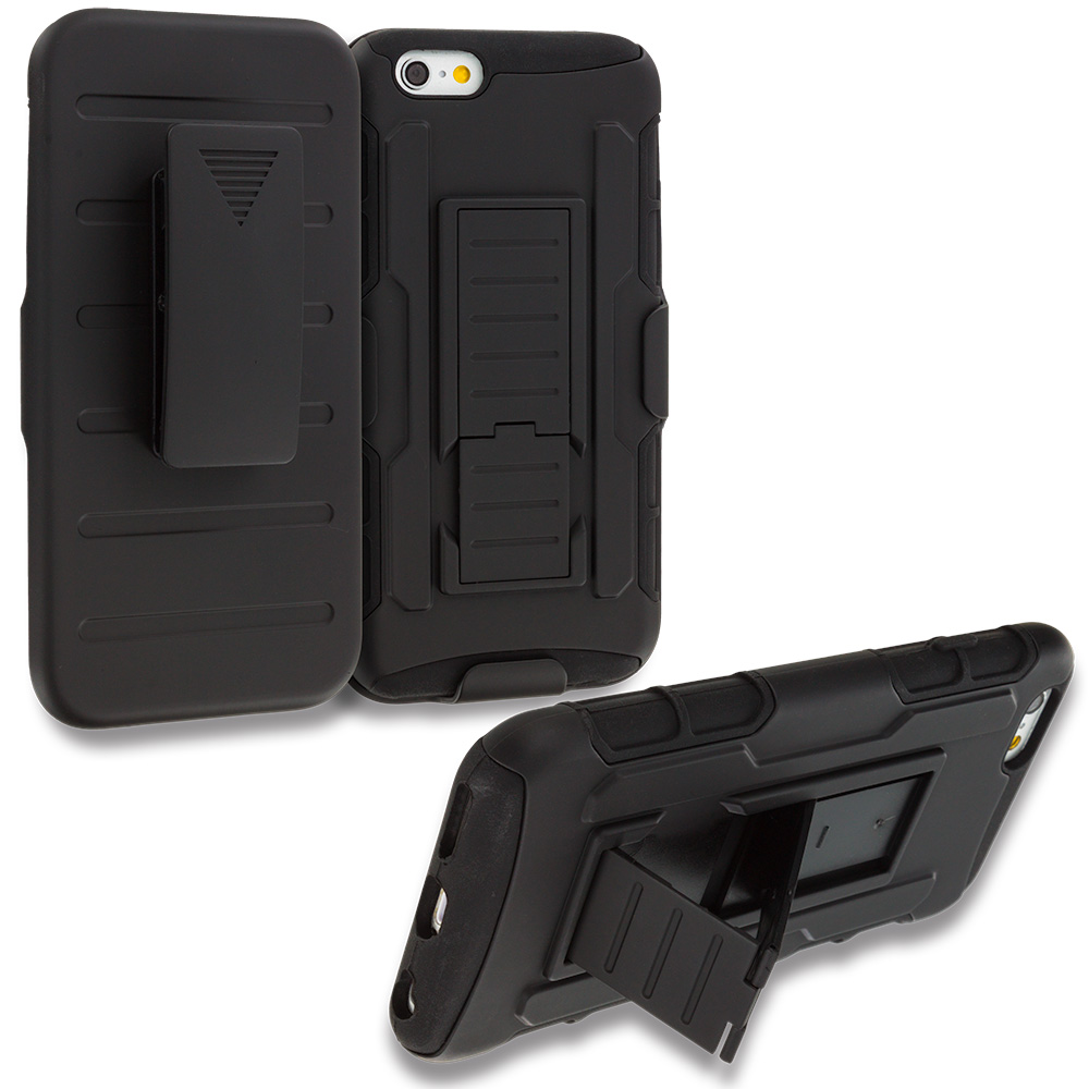 Apple iPhone 6 6S (4.7) Black Hybrid Rugged Robot Armor Heavy Duty Case Cover with Belt Clip Holster