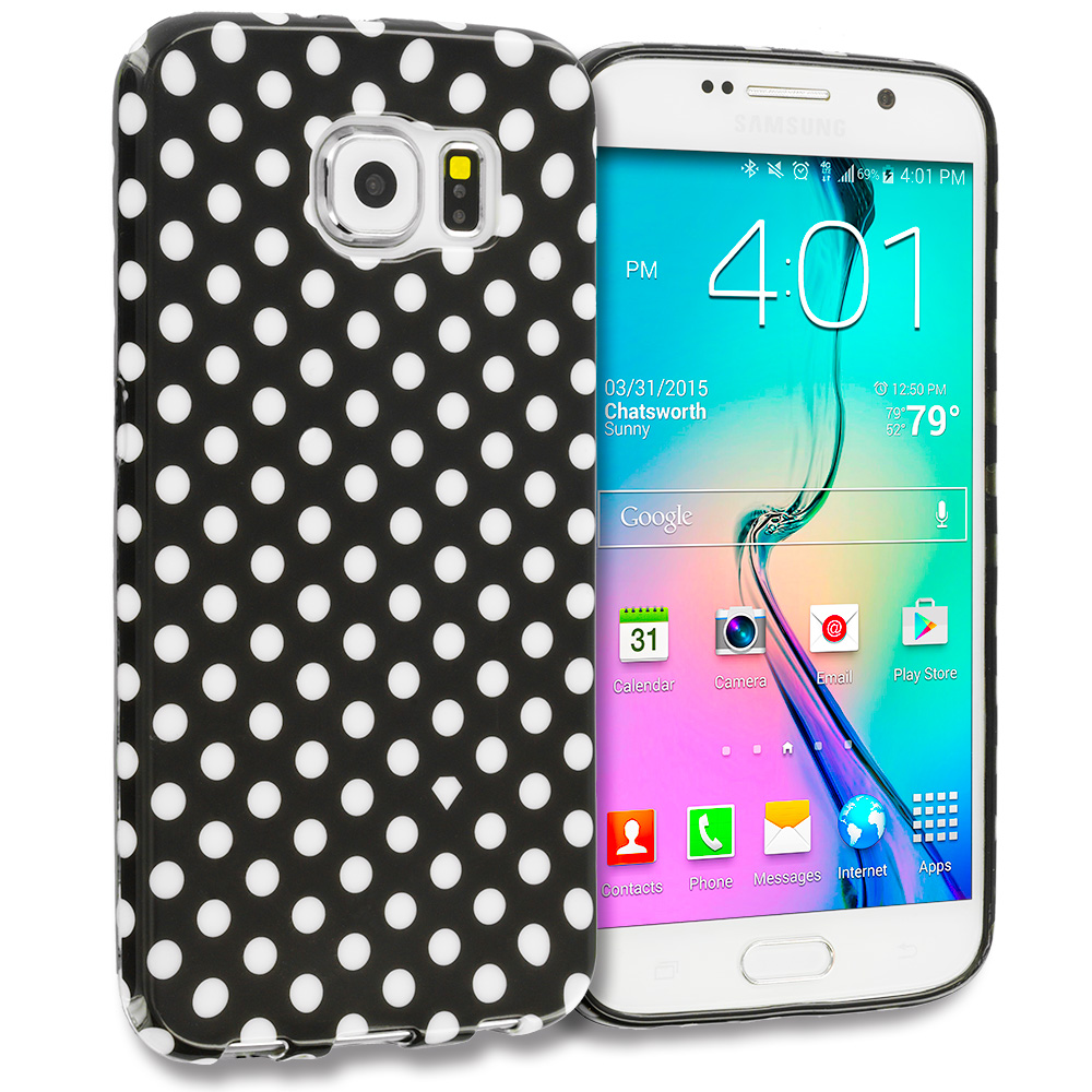 Samsung Galaxy S6 Black / Mini White TPU Polka Dot Skin Case Cover