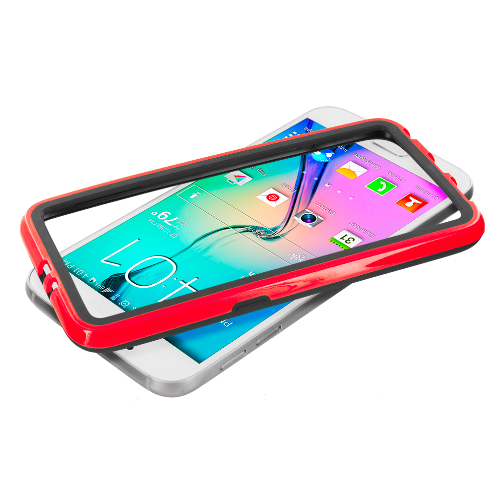Samsung Galaxy S6 3 in 1 Combo Bundle Pack - TPU Bumper Frame with Metal Buttons : Color Black / Red