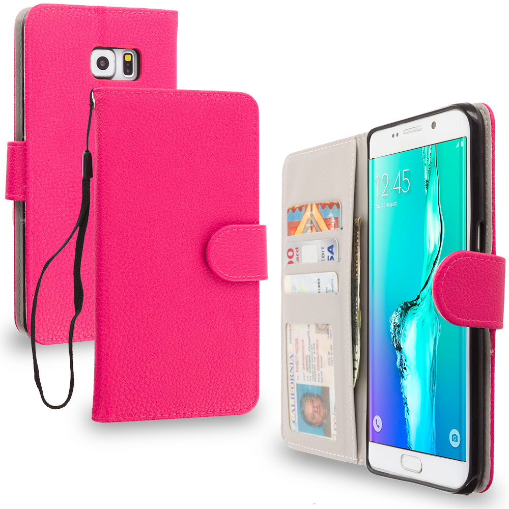 Samsung Galaxy S6 Edge Plus + Hot Pink Leather Wallet Pouch Case Cover with Slots