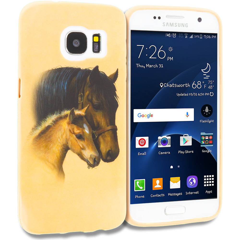 Samsung Galaxy S7 Combo Pack : Horse TPU Design Soft Rubber Case Cover : Color Horse