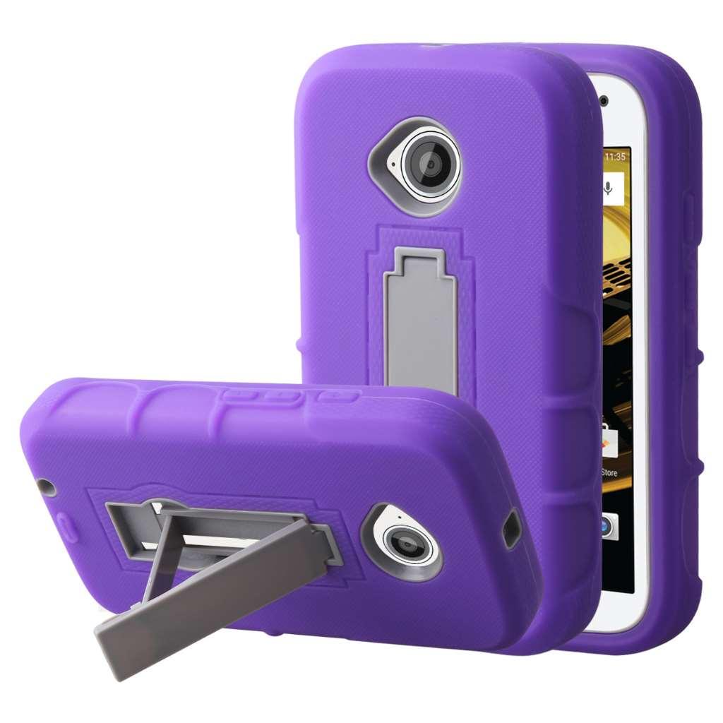 Motorola Moto E 2nd Generation - Purple MPERO IMPACT XS - Kickstand Case