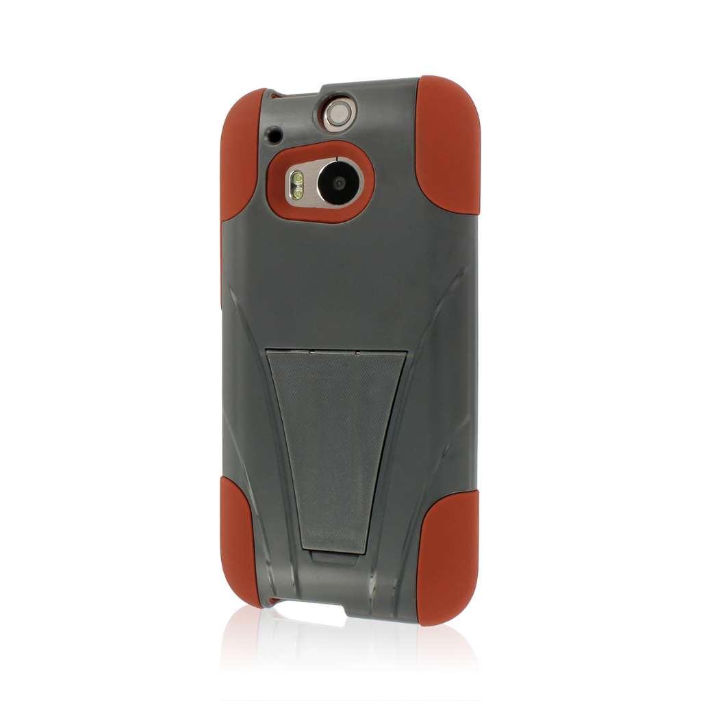 HTC One M8 - Sandstone-Gray MPERO IMPACT X - Kickstand Case Cover