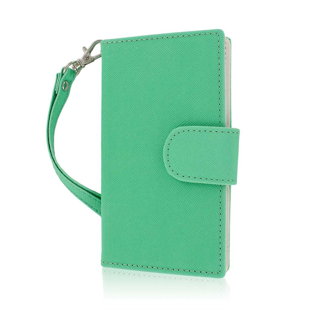 LG Splendor / Venice US730 - Mint / White MPERO FLEX FLIP Wallet Case Cover