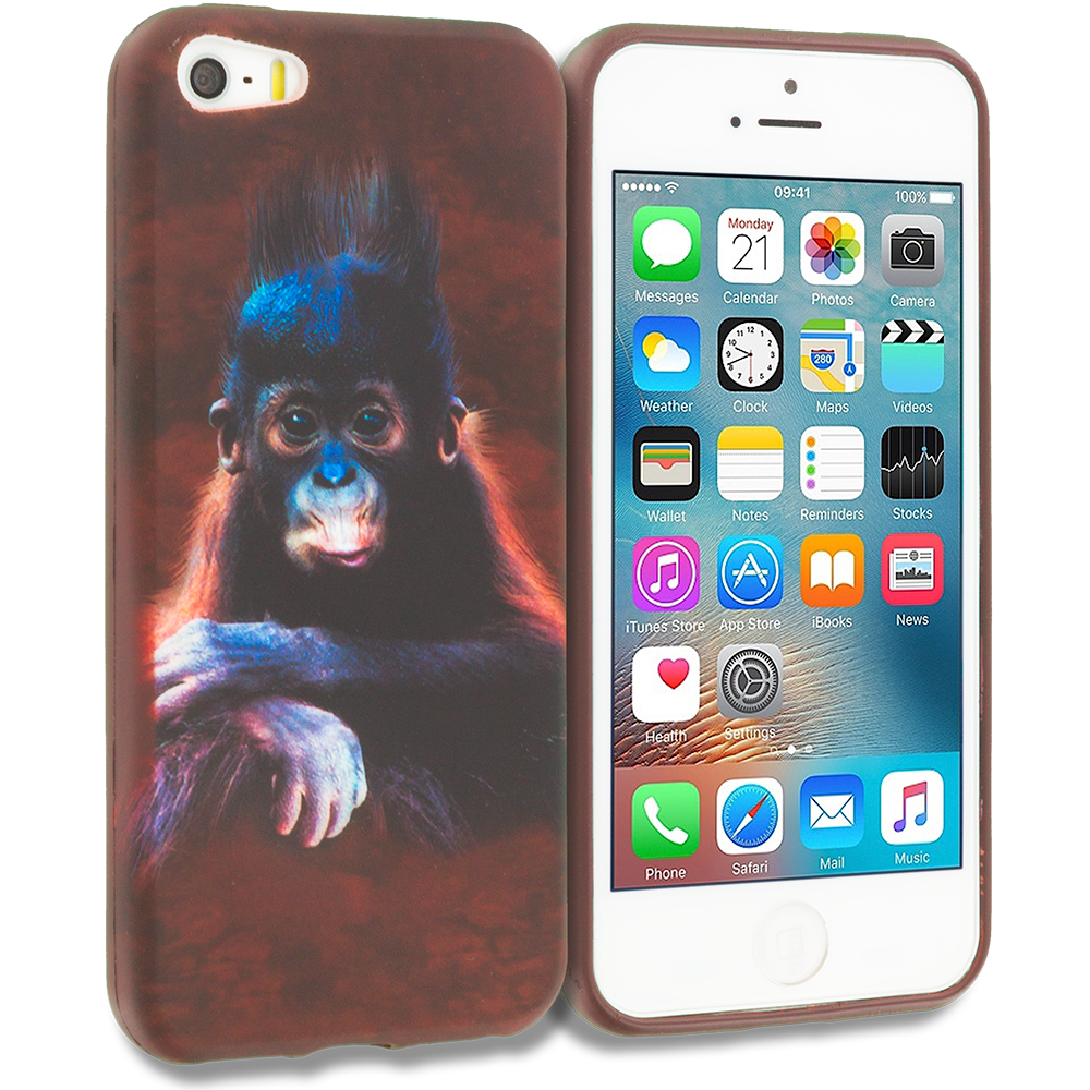 Apple iPhone 5/5S/SE Monkey TPU Design Soft Rubber Case Cover