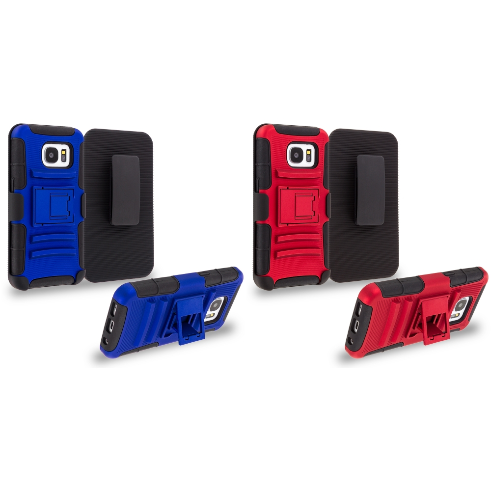 Samsung Galaxy S7 Combo Pack : Blue Hybrid Heavy Duty Rugged Case Cover with Belt Clip Holster
