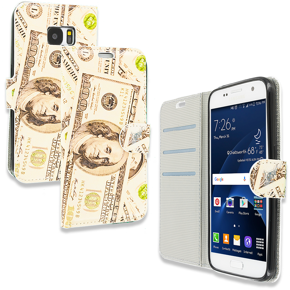 Samsung Galaxy S7 Money Design Wallet Flip Pouch Case Cover with Credit Card ID Slots