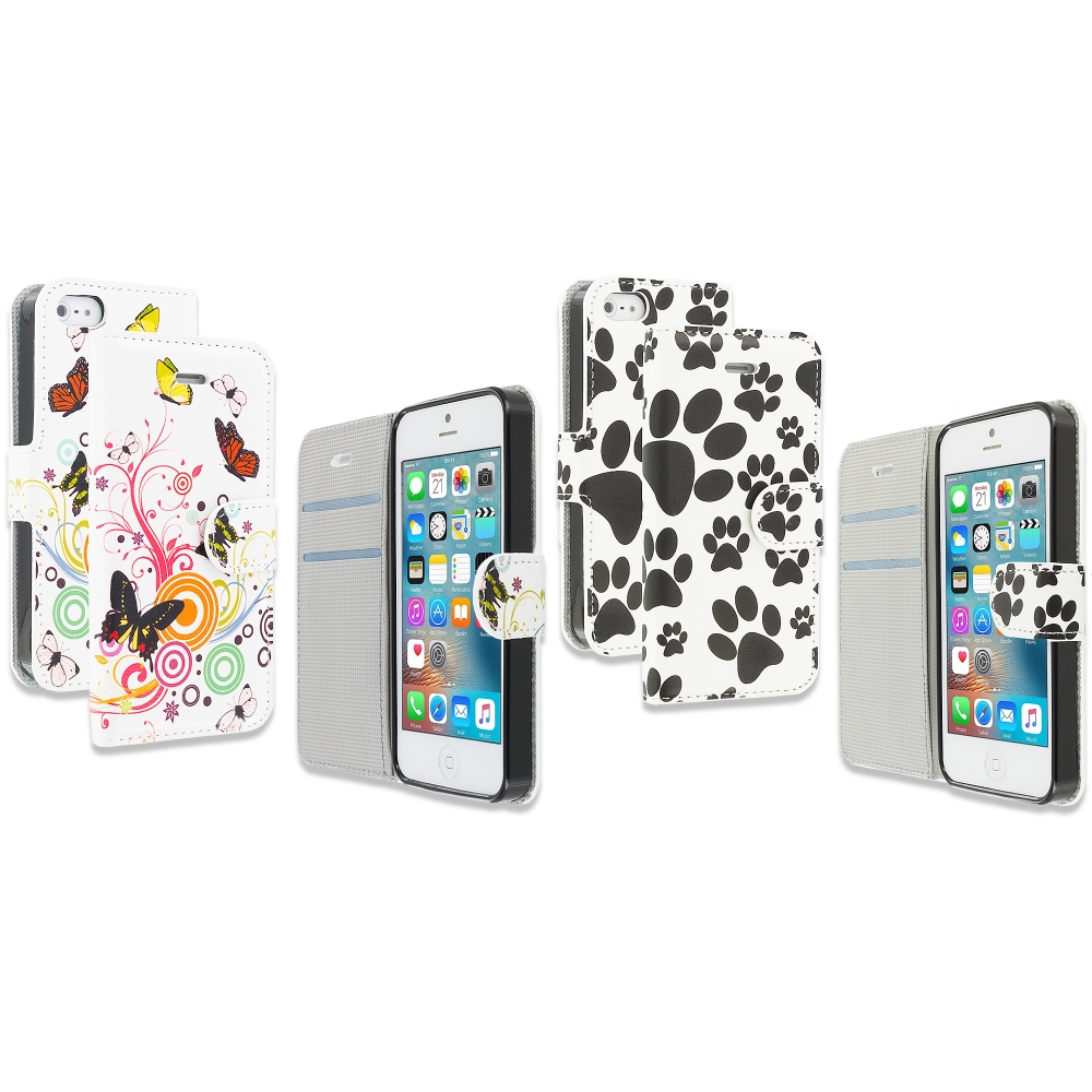 Apple iPhone 5/5S/SE Combo Pack : Autumn Flower Design Wallet Flip Pouch Case Cover with Credit Card ID Slots