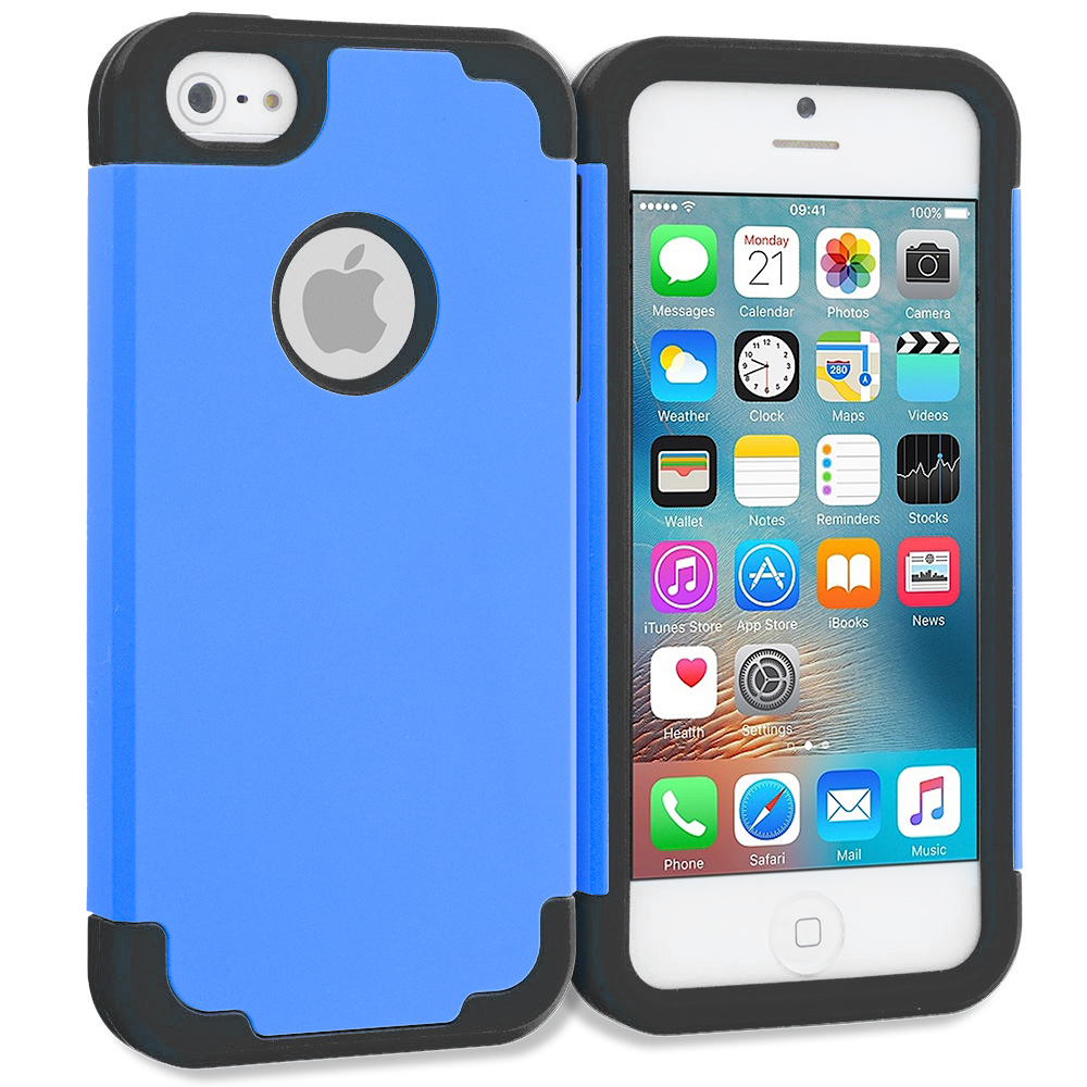 Apple iPhone 5/5S/SE Combo Pack : Blue / Black Hybrid Slim Hard Soft Rubber Impact Protector Case Cover : Color Blue / Black