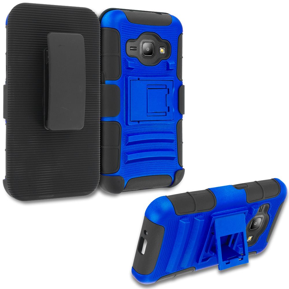 Samsung Galaxy J1 2016 Amp 2 Blue Hybrid Heavy Duty Rugged Case Cover with Belt Clip Holster
