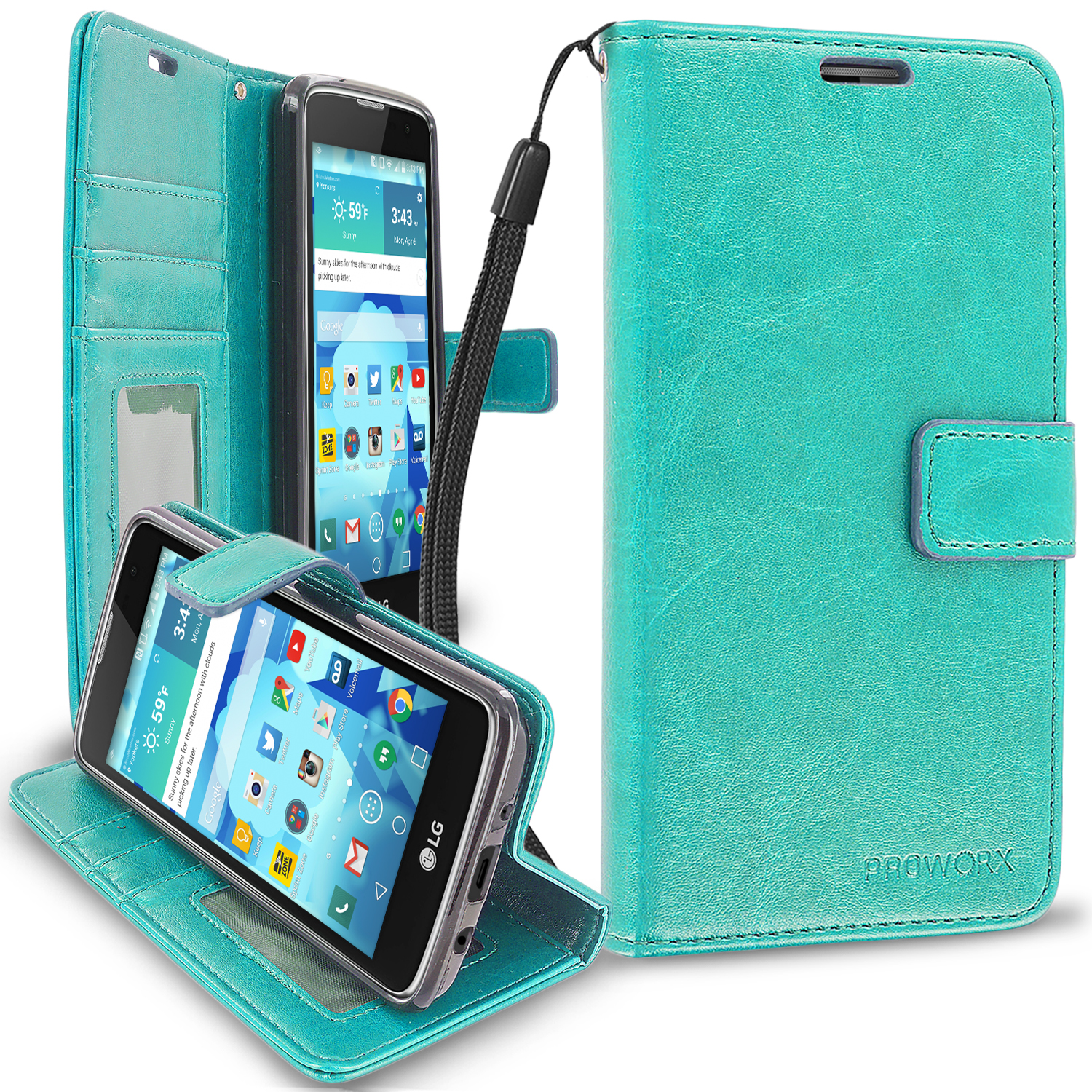 LG Tribute 5 K7 Phoenix 2 Escape 3 Treasure Mint Green ProWorx Wallet Case Luxury PU Leather Case Cover With Card Slots & Stand