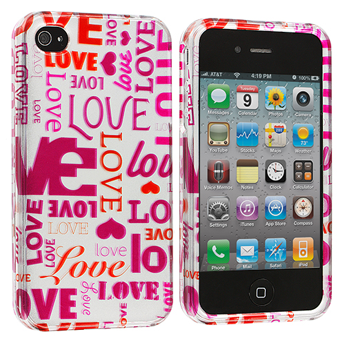 Apple iPhone 4 Bundle Pack Love Tree Design Crystal Hard Case Cover : Color Lots of Love