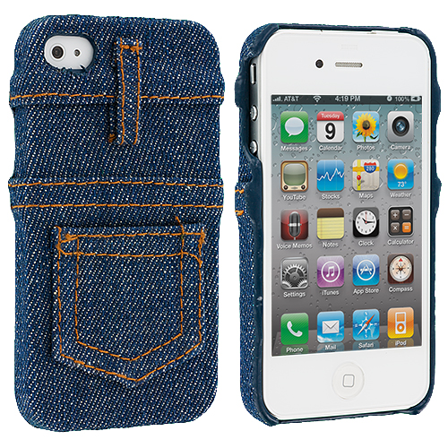 Apple iPhone 4 / 4S Blue Jeans Design Crystal Hard Case Cover