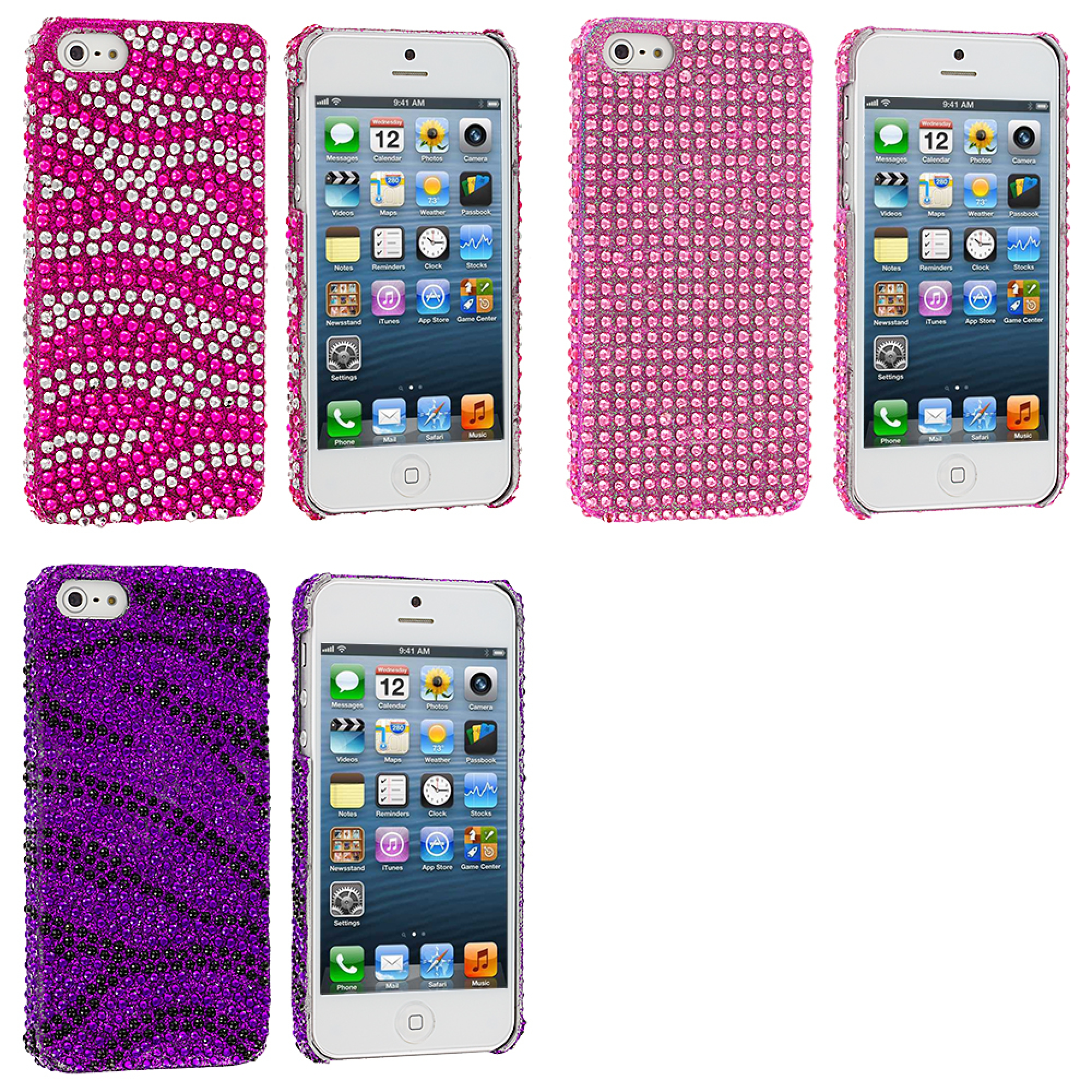 Apple iPhone 5/5S/SE Combo Pack : Hot Pink / Silver Zebra Bling Rhinestone Case Cover