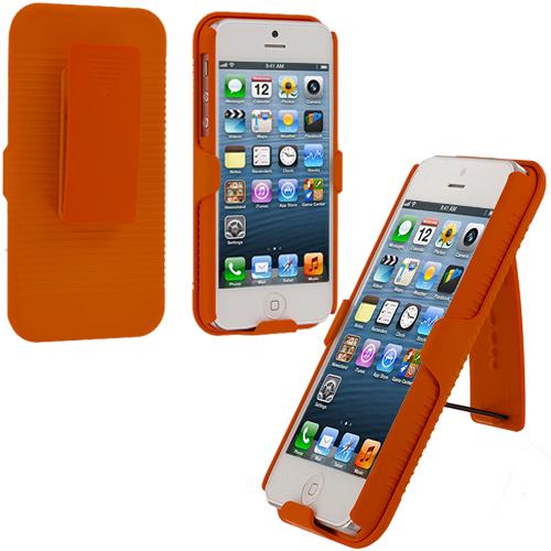 Apple iPhone 5/5S/SE Orange Hard Rubberized Belt Clip Holster Case Cover
