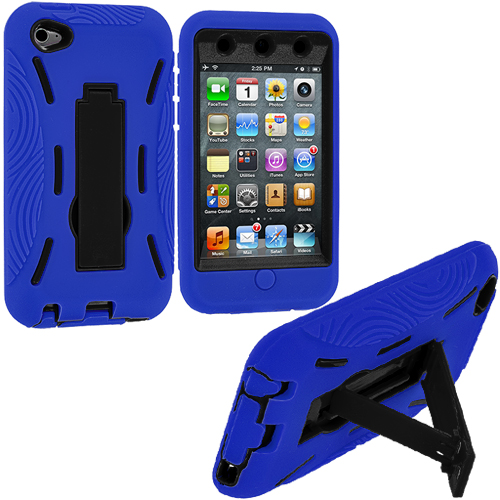 Apple iPod Touch 4th Generation Blue / Black Hybrid Heavy Duty Hard/Soft Case Cover with Stand