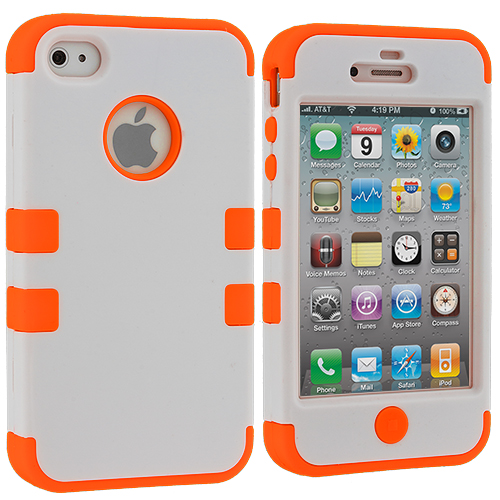 Apple iPhone 4 / 4S White / Orange Hybrid Tuff Hard/Soft 3-Piece Case Cover