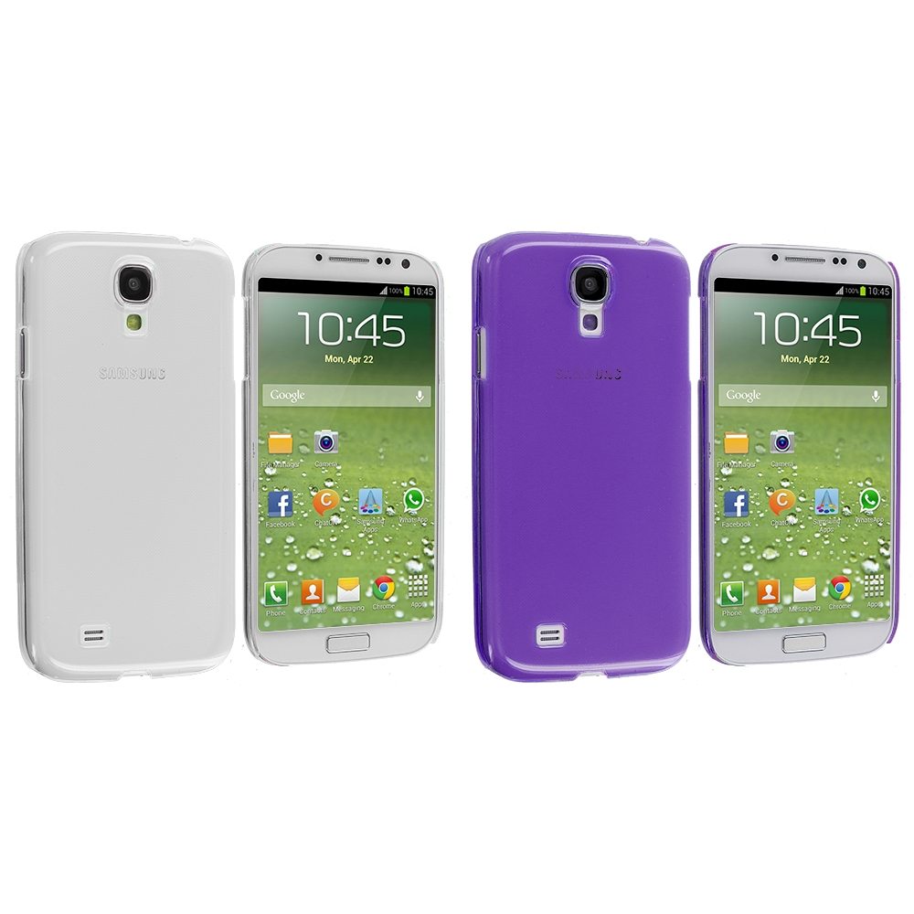 Samsung Galaxy S4 2 in 1 Combo Bundle Pack - Clear Crystal Hard Back Cover Case