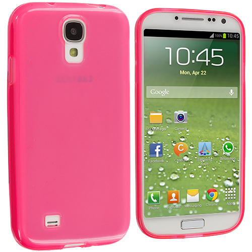Samsung Galaxy S4 2 in 1 Combo Bundle Pack - Clear Pink Plain TPU Rubber Skin Case Cover : Color Light Pink Plain