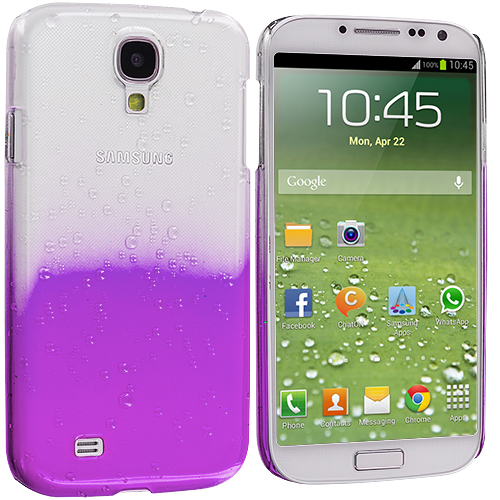 Samsung Galaxy S4 2 in 1 Combo Bundle Pack - Hot Pink Purple Crystal Raindrop Hard Case Cover : Color Purple
