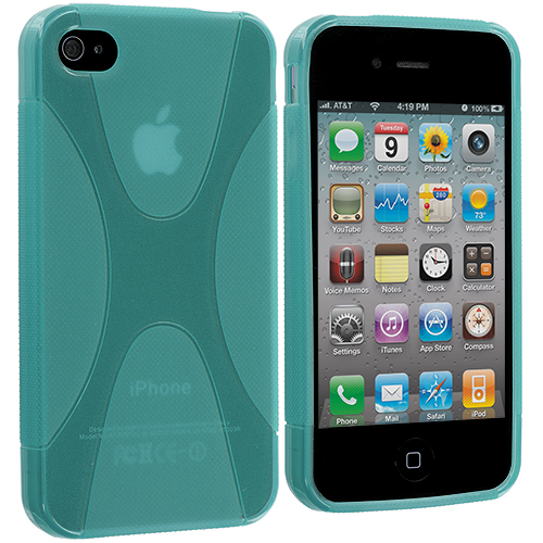 Apple iPhone 4 / 4S Mint Green X-Line TPU Rubber Skin Case Cover