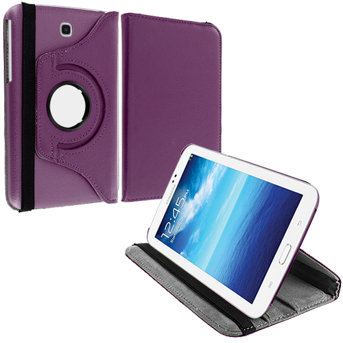 Samsung Galaxy Tab 3 7.0 Purple 360 Rotating Leather Pouch Case Cover Stand