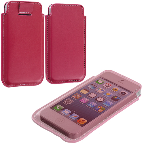 Apple iPhone 5/5S/SE Combo Pack : Blue Sleeve Pouch : Color Hot Pink