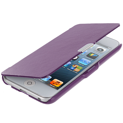 Apple iPod Touch 5th 6th Generation Purple Texture Magnetic Wallet Case Cover Pouch