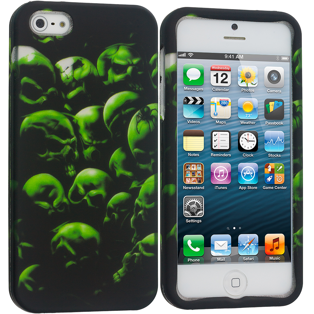 Apple iPhone 5/5S/SE 4 in 1 Combo Bundle Pack - Skulls Hard Rubberized Design Case Cover : Color Green Skull