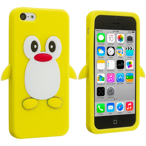 Apple iPhone 5C Yellow Penguin Silicone Design Soft Skin Case Cover