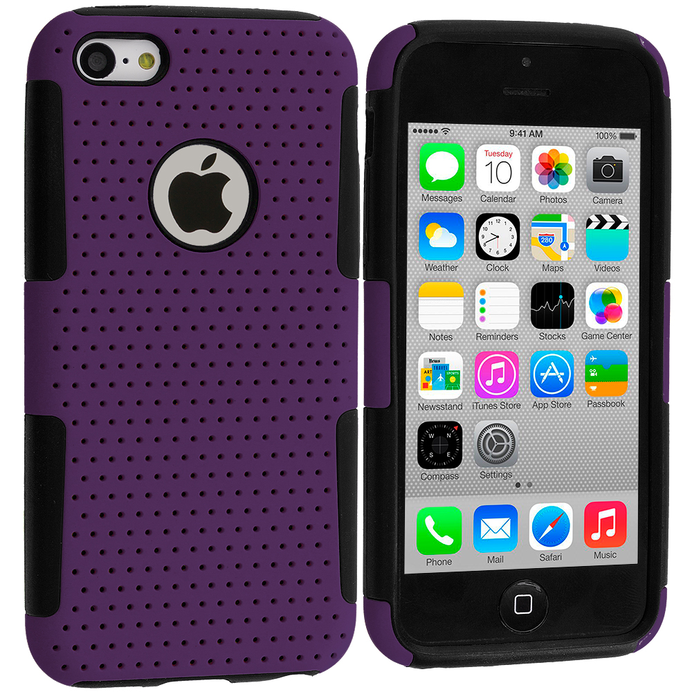 Apple iPhone 5C Black / Purple Hybrid Mesh Hard/Soft Case Cover