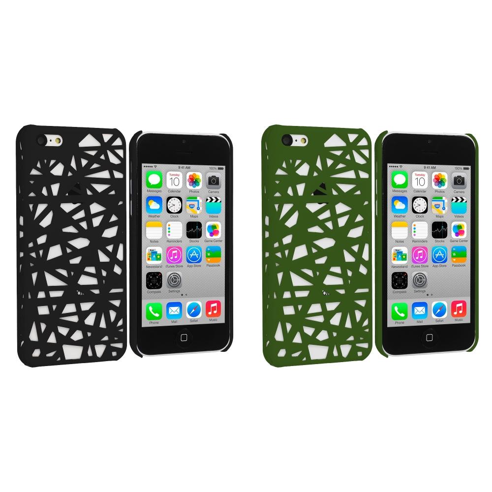 Apple iPhone 5C 2 in 1 Combo Bundle Pack - Black Green Birds Nest Hard Rubberized Back Cover Case