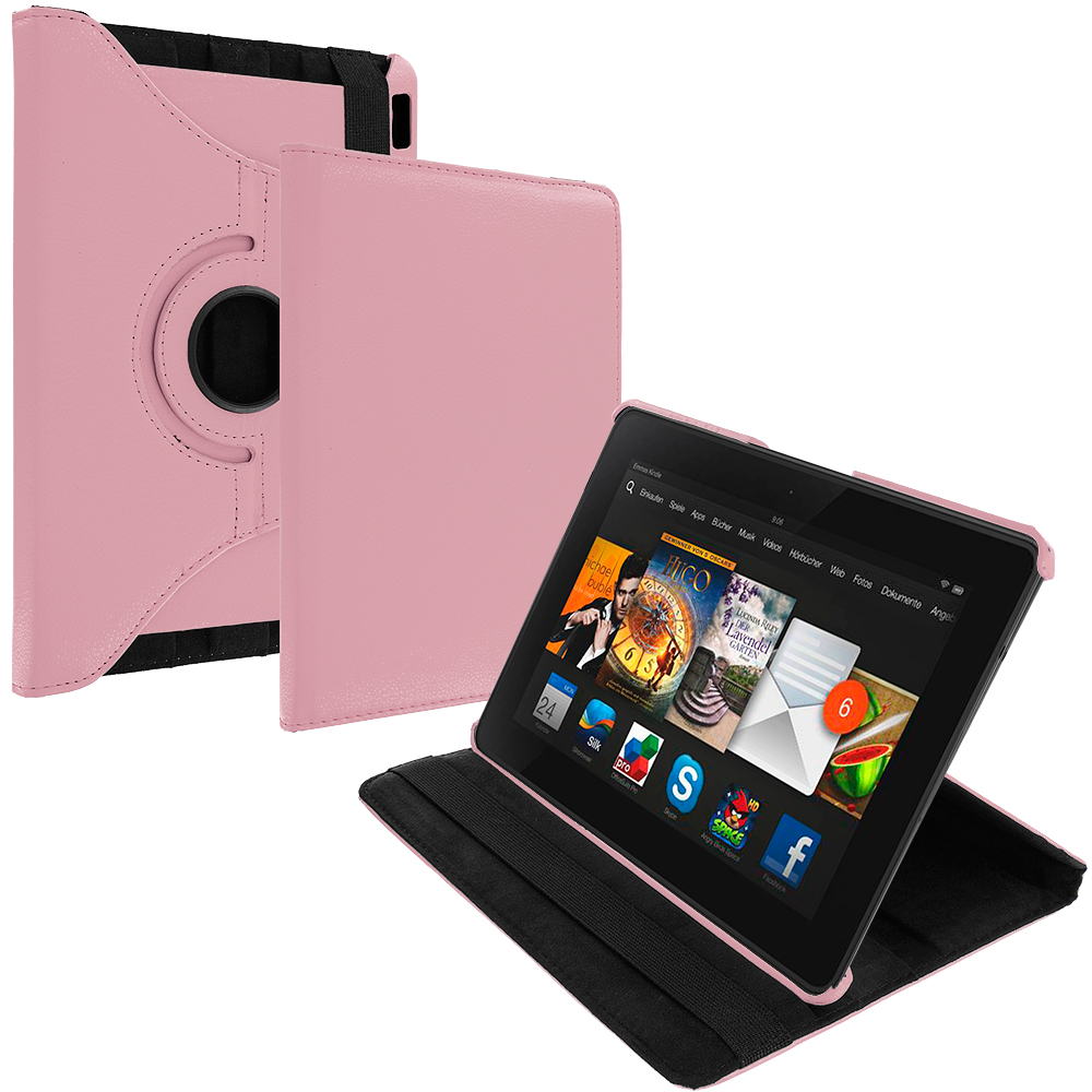 Amazon Kindle Fire HDX 7 Pink 360 Rotating Leather Pouch Case Cover Stand