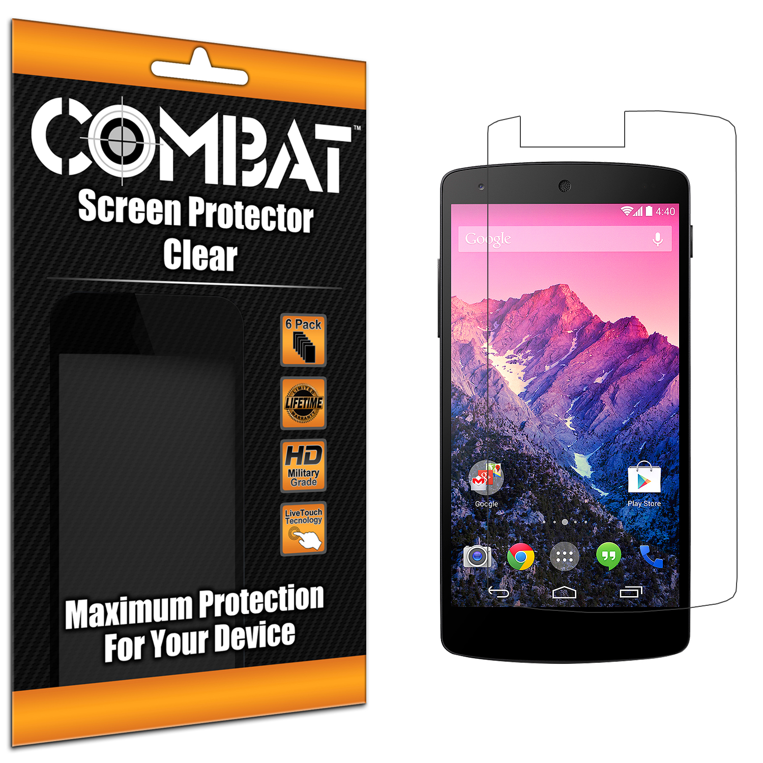 LG Google Nexus 5 Combat 6 Pack HD Clear Screen Protector