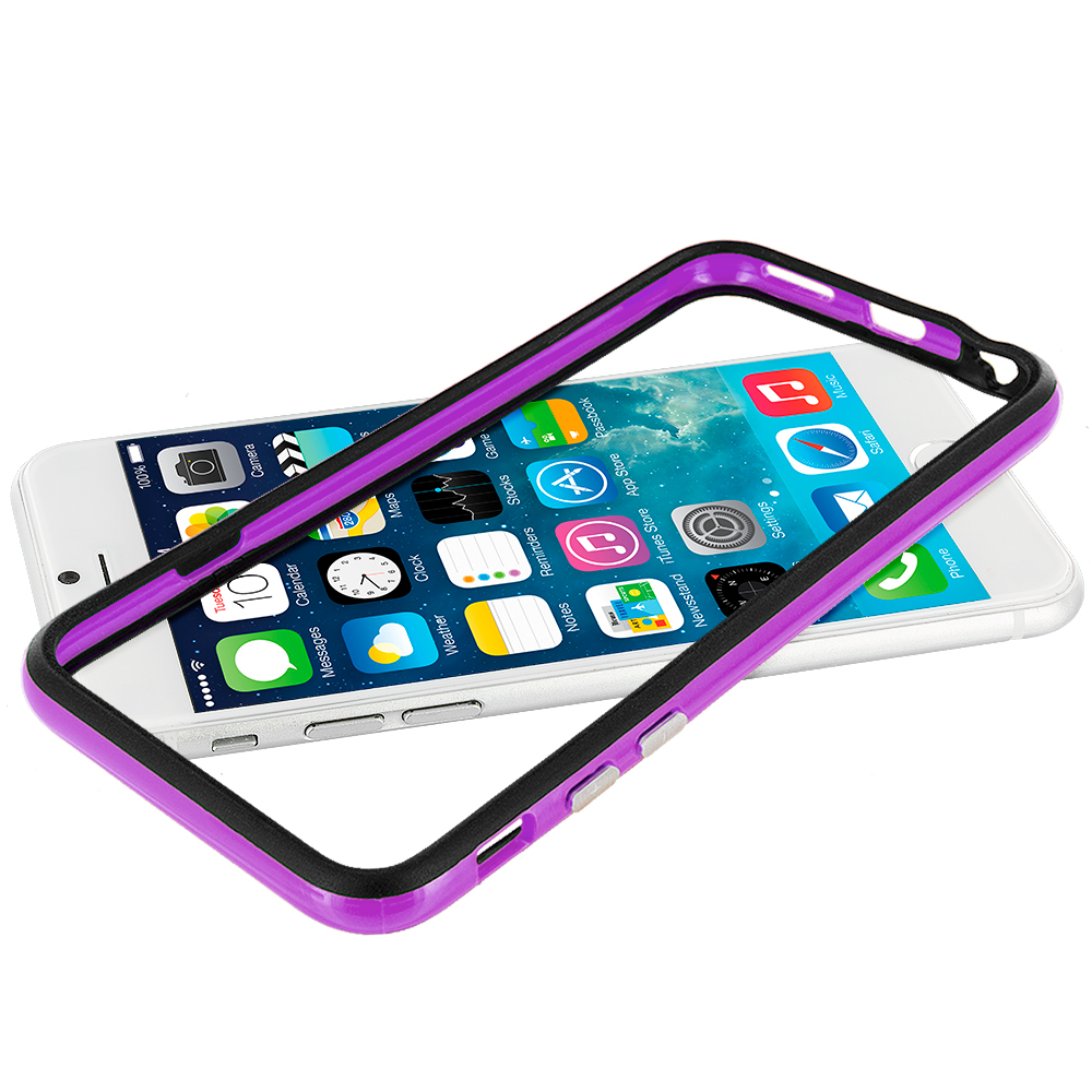 Apple iPhone 6 6S (4.7) Black / Purple TPU Bumper with Metal Buttons