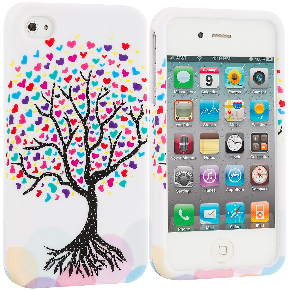 Apple iPhone 4 / 4S Love Tree on White Hard Rubberized Design Case Cover