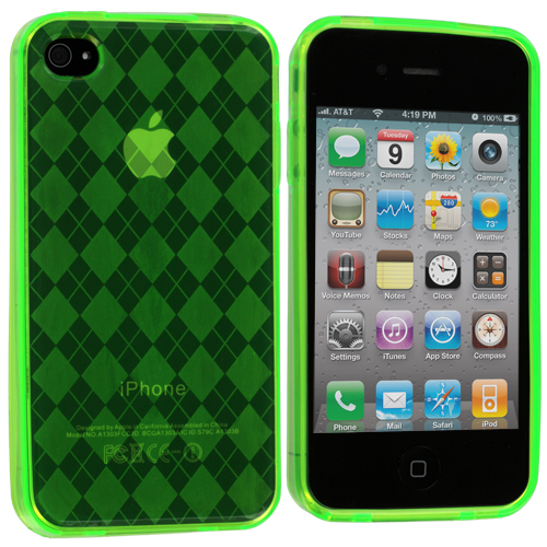 Apple iPhone 4 / 4S 2 in 1 Combo Bundle Pack - Green Purple Checkered TPU Rubber Skin Case Cover : Color Green Checkered