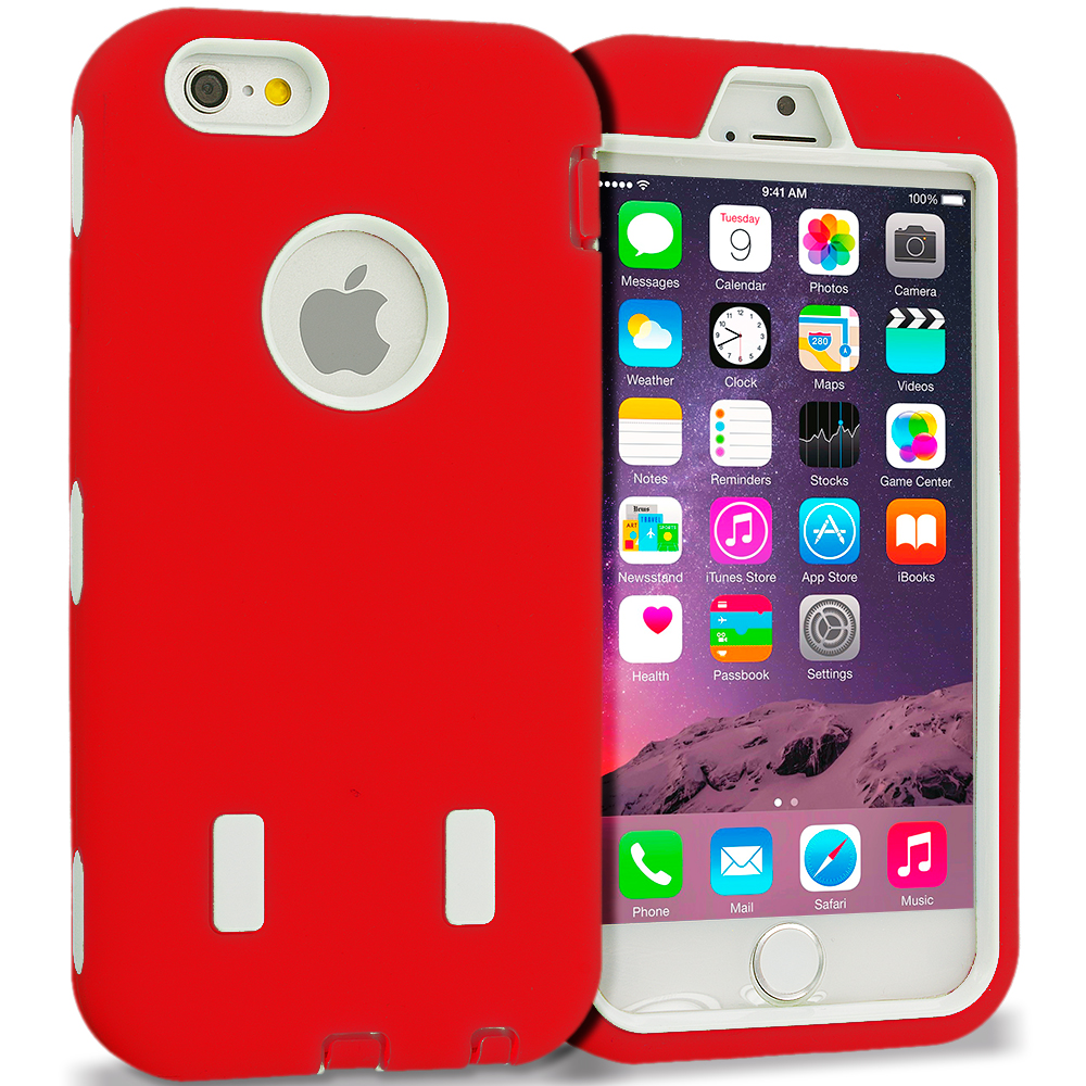 Apple iPhone 6 6S (4.7) Red / White Hybrid Deluxe Hard/Soft Case Cover