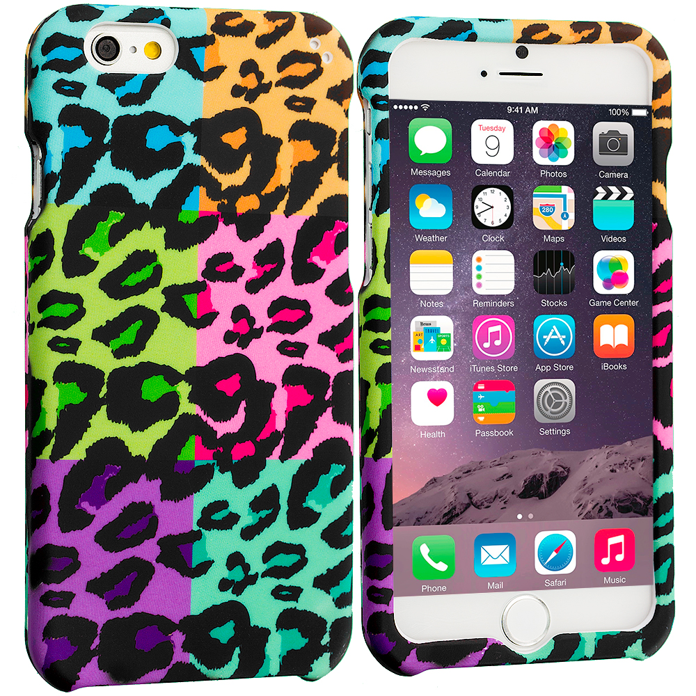 Apple iPhone 6 6S (4.7) Splicing Grid Leopard Hard Rubberized Design Case Cover