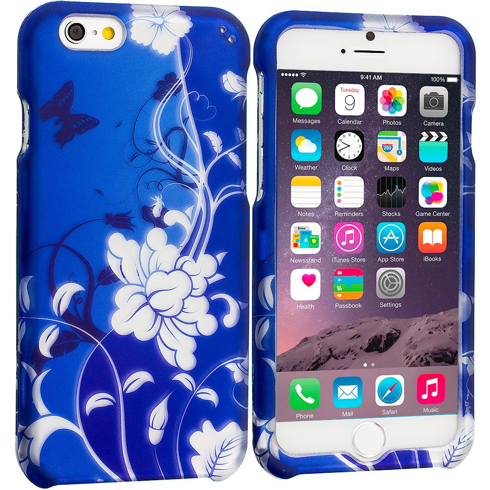 Apple iPhone 6 Plus 6S Plus (5.5) Blue White Flower Butterfly 2D Hard Rubberized Design Case Cover