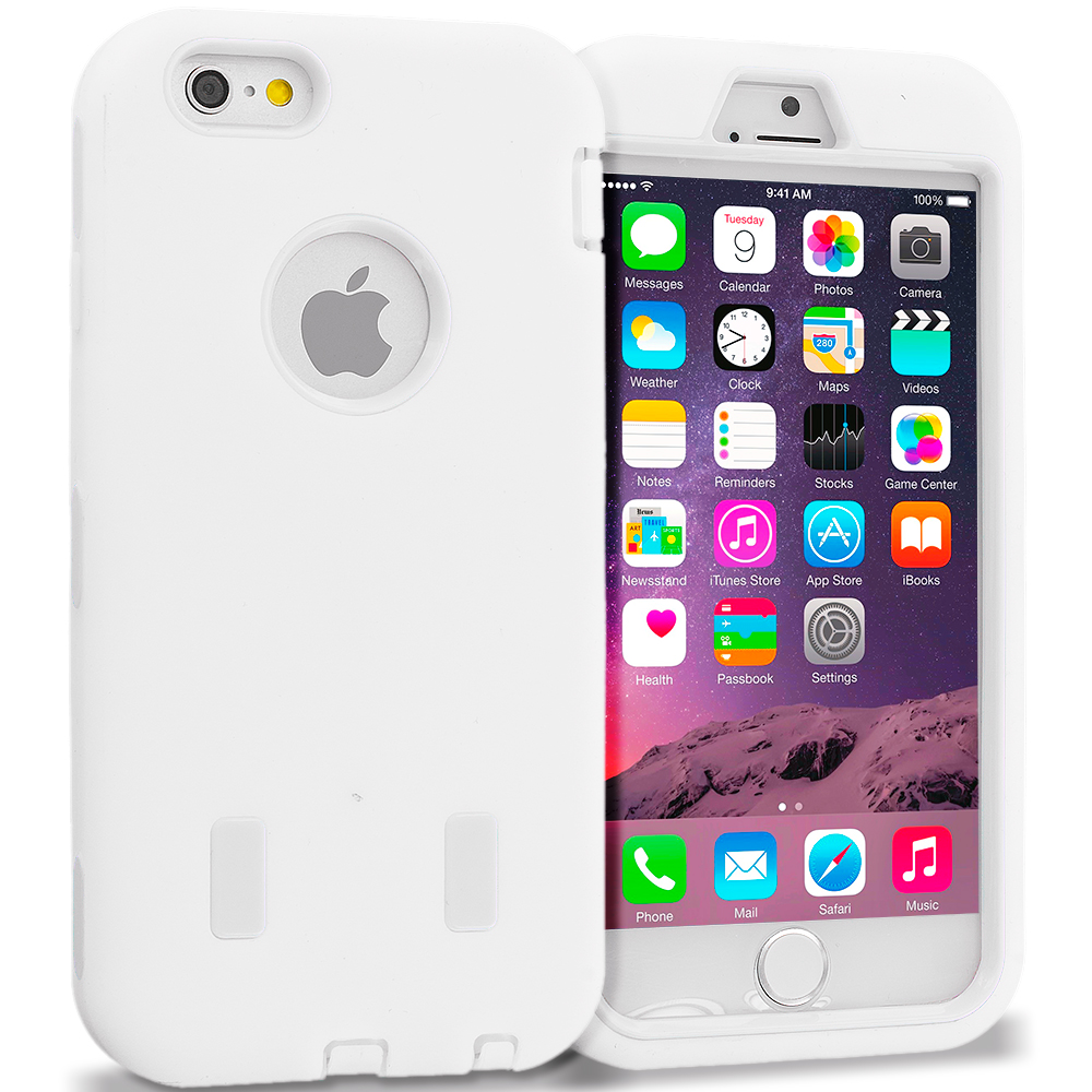 Apple iPhone 6 6S (4.7) White / White Hybrid Deluxe Hard/Soft Case Cover