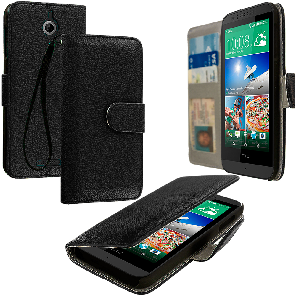 HTC Desire 510 Black Leather Wallet Pouch Case Cover with Slots