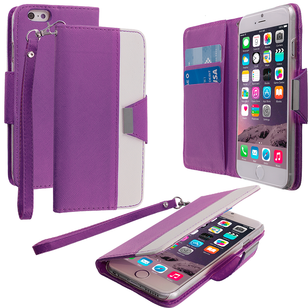 Apple iPhone 6 Plus 6S Plus (5.5) 5 in 1 Combo Bundle Pack - Wallet Magnetic Metal Flap Case Cover With Card Slots : Color Purple