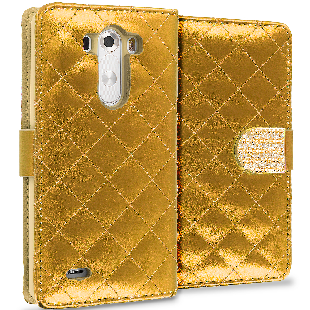 LG G3 Gold Luxury Wallet Diamond Design Case Cover With Slots