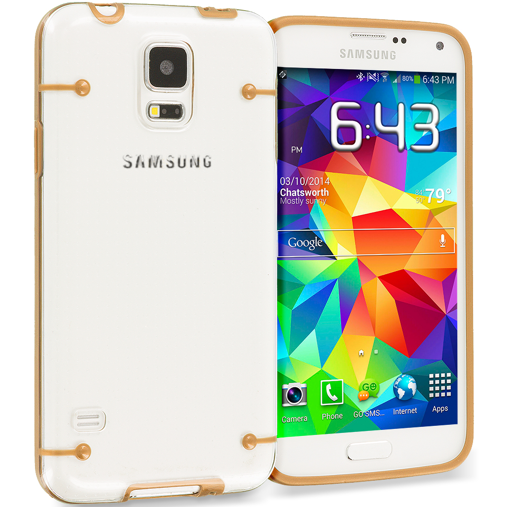 Samsung Galaxy S5 Gold Crystal Robot Hard TPU Case Cover