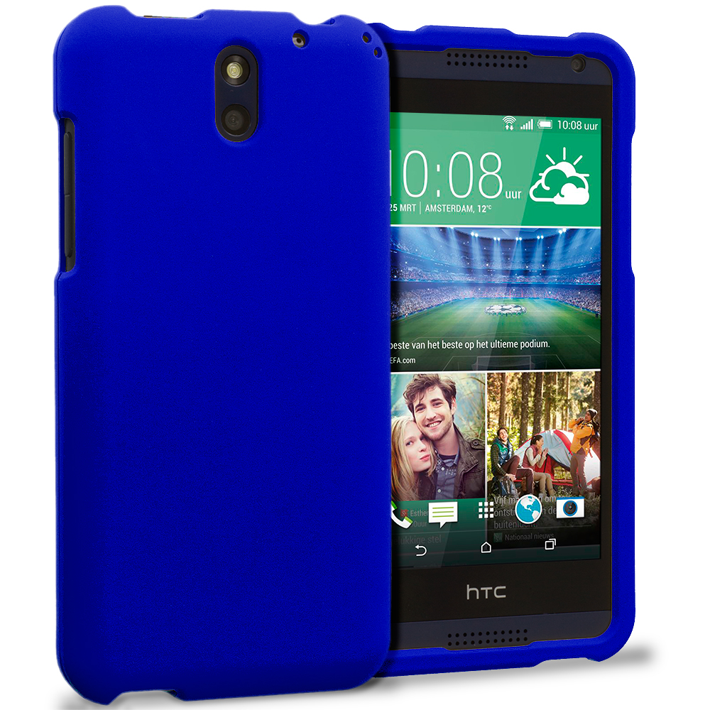 HTC Desire 610 Blue Hard Rubberized Case Cover