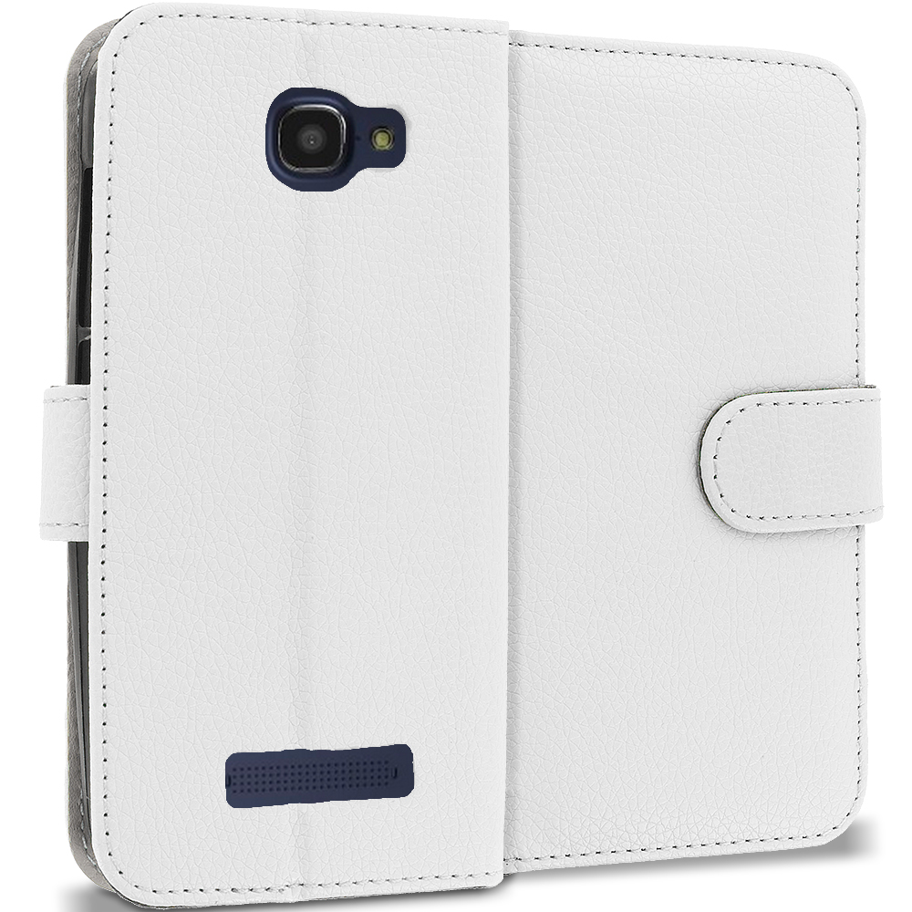 Alcatel One Touch Fierce 2 7040T White Leather Wallet Pouch Case Cover with Slots