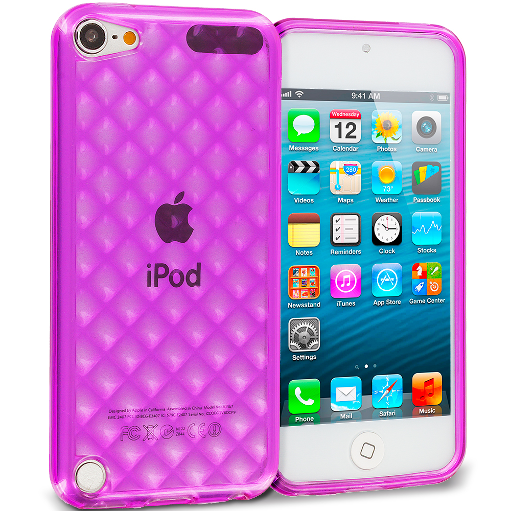 Apple iPod Touch 5th 6th Generation 3 in 1 Combo Bundle Pack - Pink Purple Red Argyle TPU Rubber Skin Case Cover : Color Purple Argyle