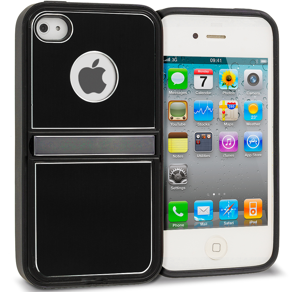 Apple iPhone 4 / 4S Black Brushed Stand Aluminum Metal Hard Case Cover
