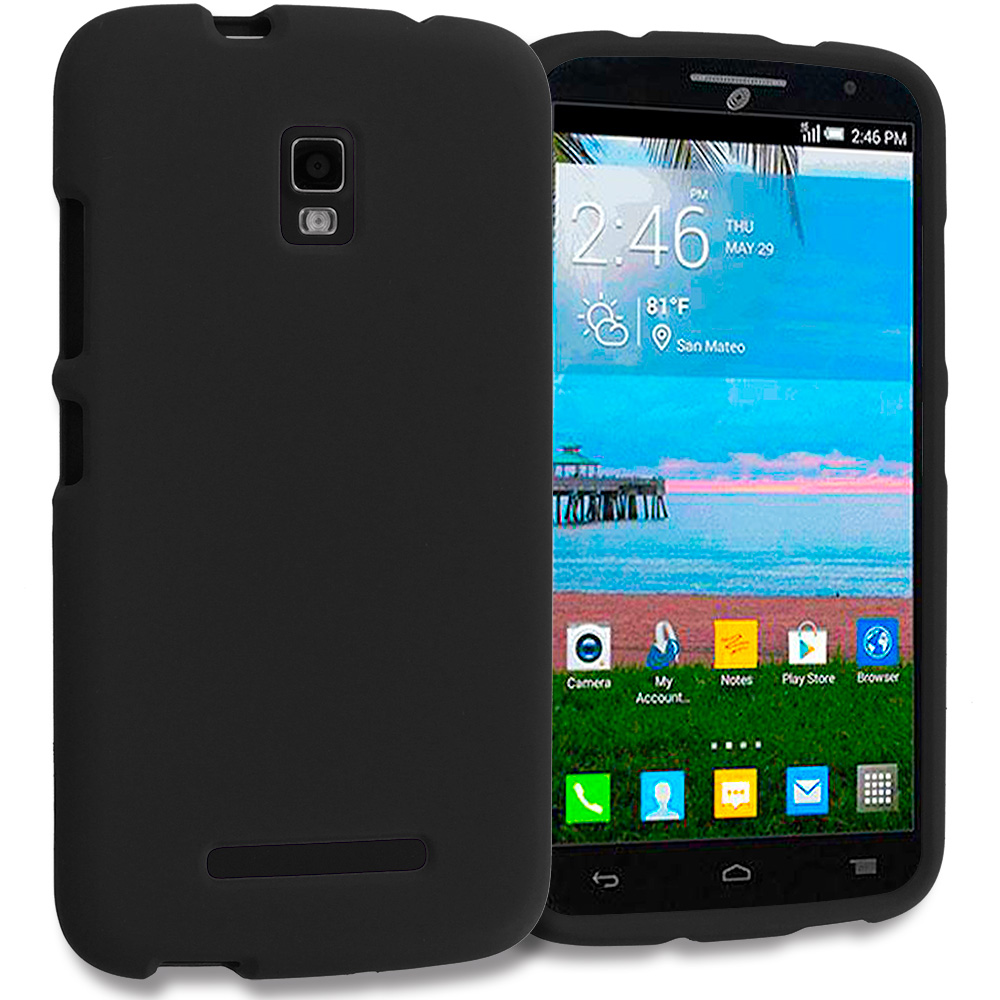 Alcatel One Touch Pop Mega A995L Black Hard Rubberized Case Cover